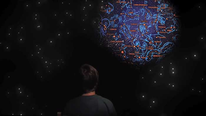 3D projector displaying constellations on a bedroom ceiling