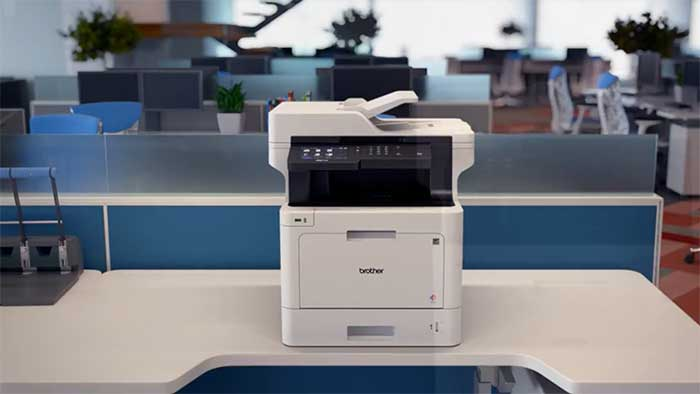 Brother business printer in an open office space