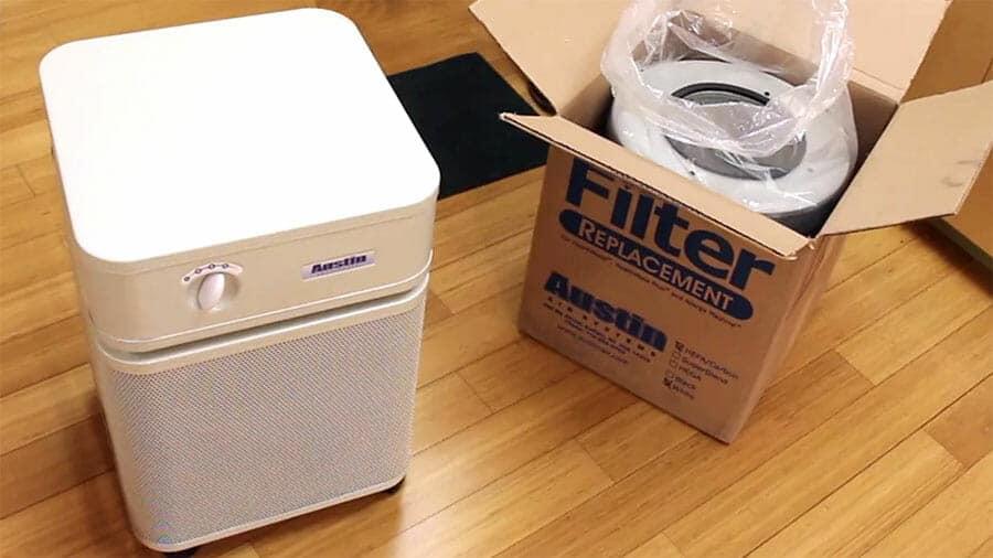 Austin air filter on a wooden floor