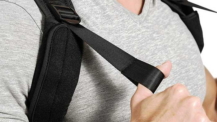 Closeup of nylon strap on a brace