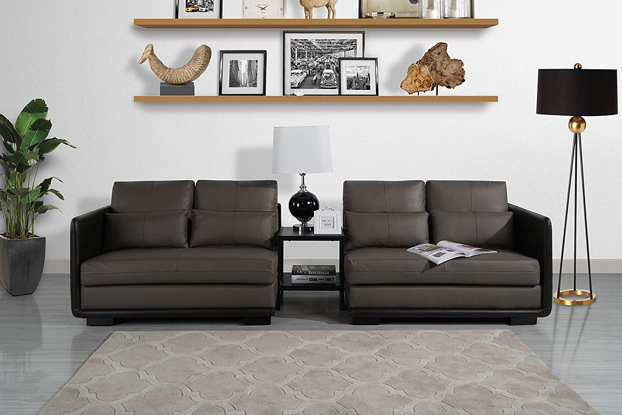 classic 2 piece convertible leather sofa image