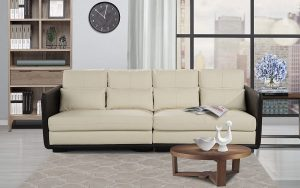 classic 2 piece convertible living room leather sofa image