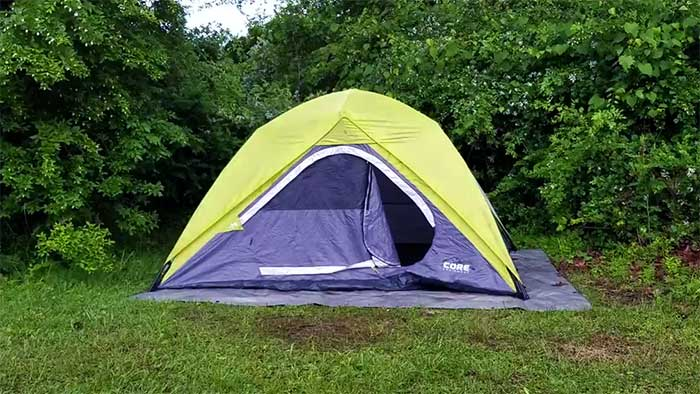 Core 4 Person Instant Tent in the woods