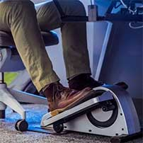 Mini cycle machine under an office desk
