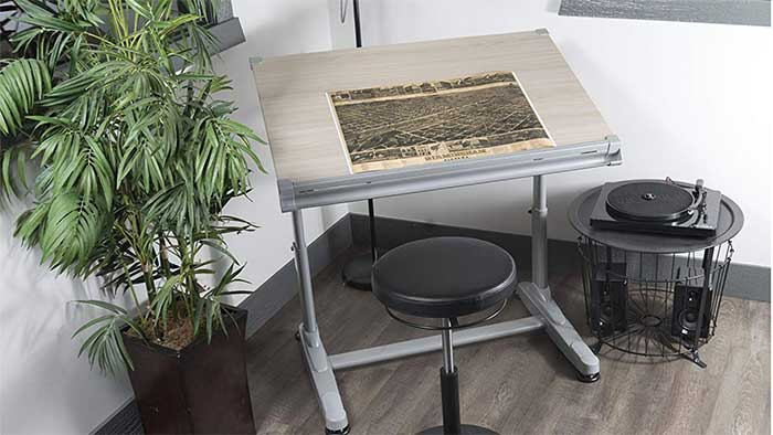 Drawing table with a document on it