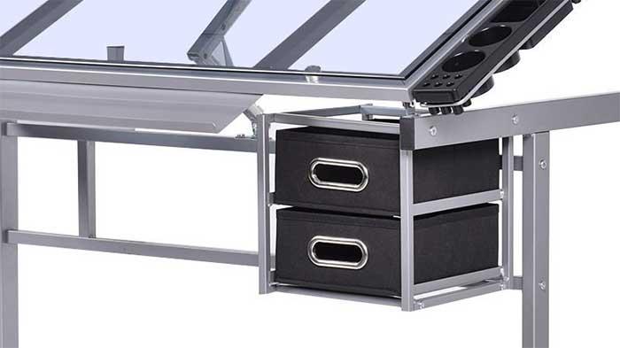 Black drawers on an artist desk