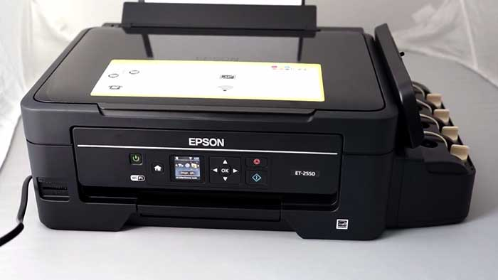 Epson Ecotank printer with the ink reserve opened
