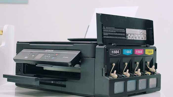 Epson et2650 printer with the ink cartridge tray open
