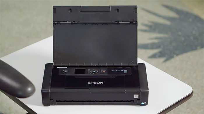 Epson workforce wf-100 next to an office chair