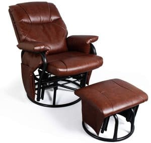 faux leather glider recliner image