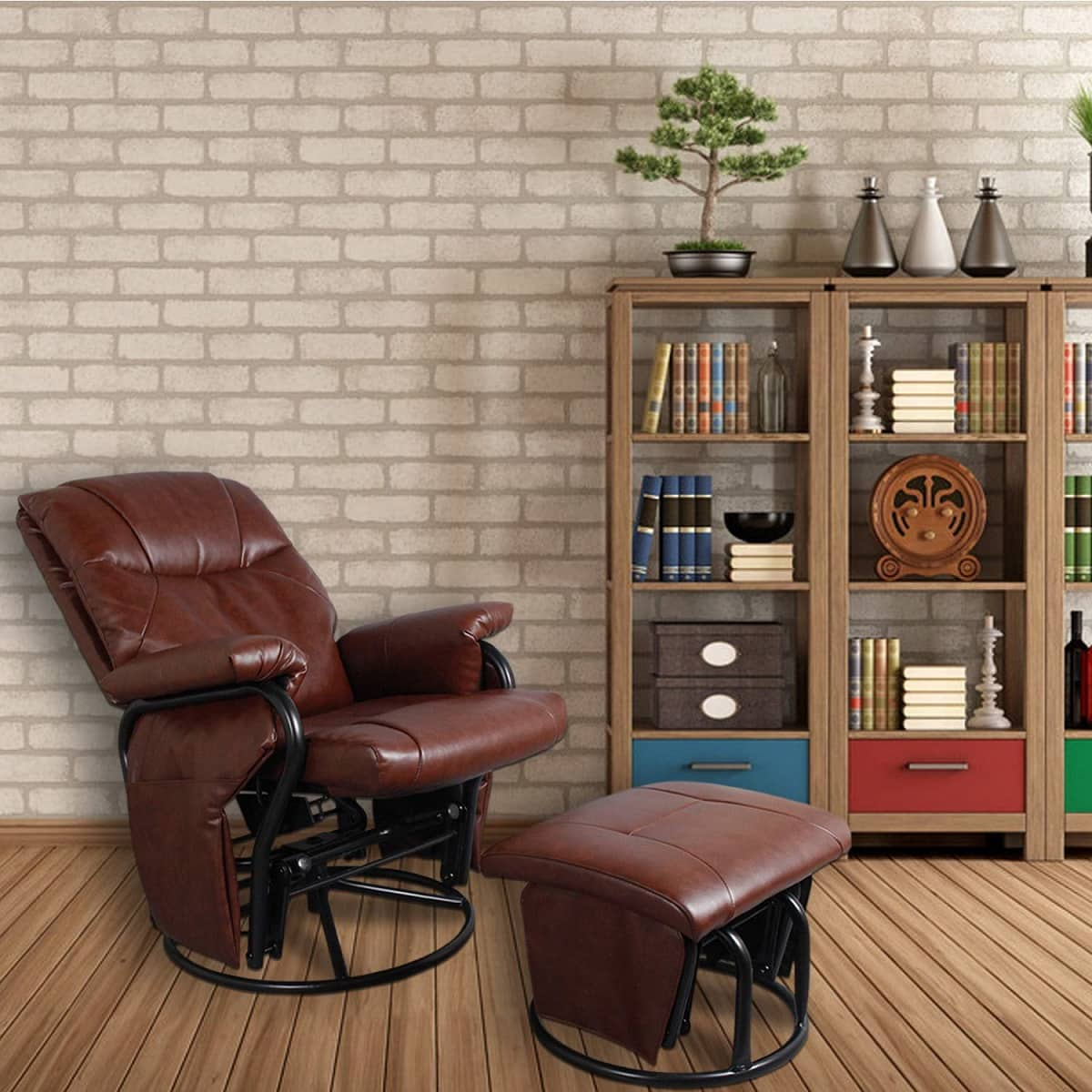 faux leather glider recliner chair image