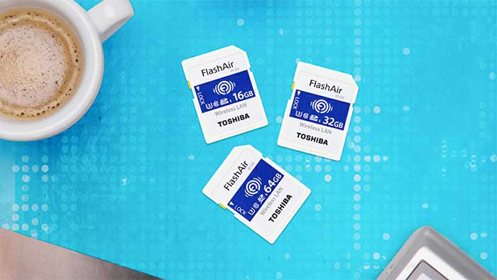 Toshiba flashair sd cards on a blue mat