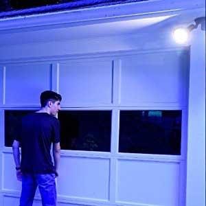 Garage door with a big light bulb