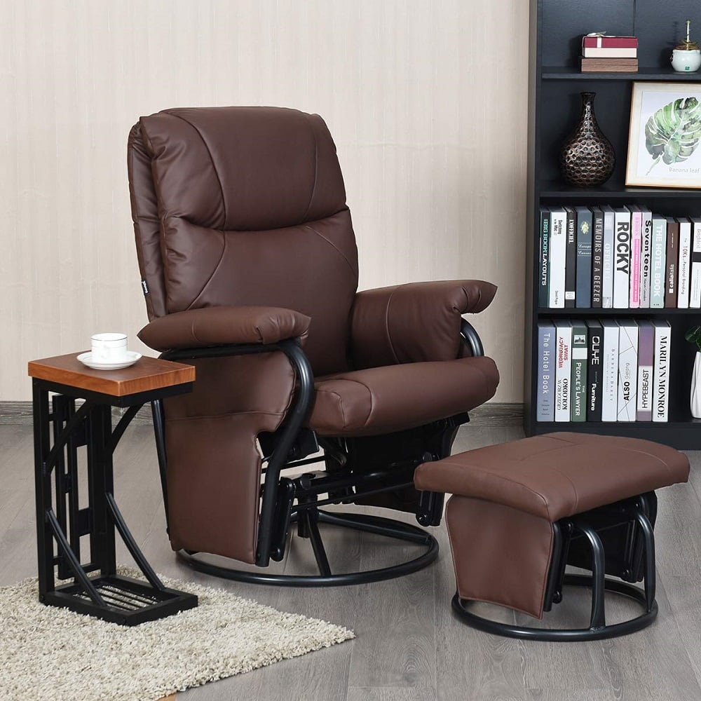 giantex glider recliner with ottoman image