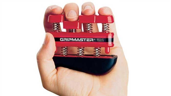 Training finger pressure on a gripmaster exerciser