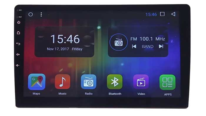 2 DIN size head unit displaying its main home screen