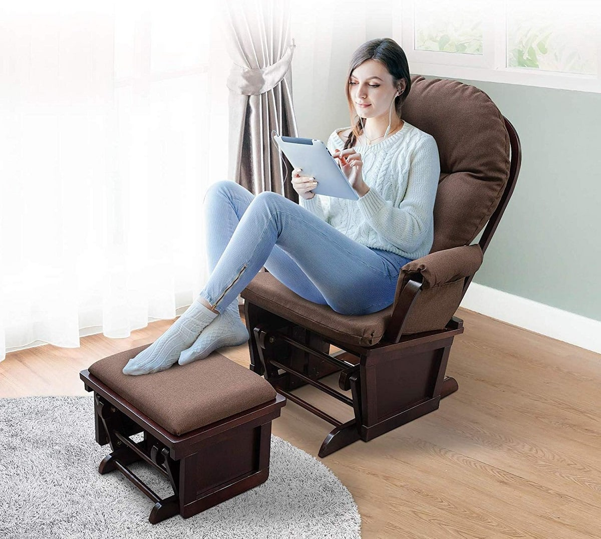 homcom nursery glider recliner rocking chair image