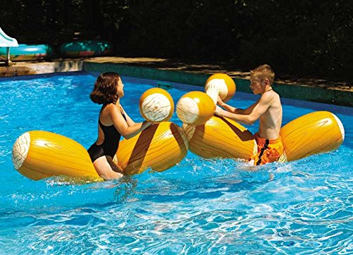 inflatable swimming pool log flume joust set image