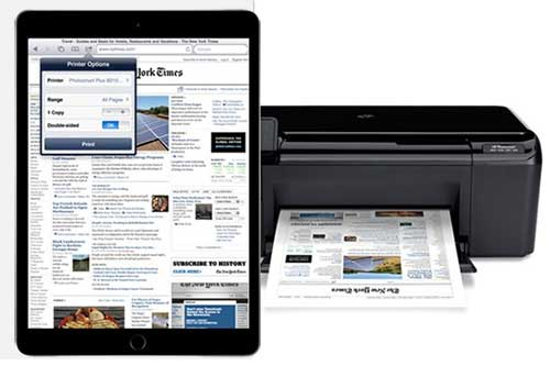 Apple ipad wirelessly printing the new york times home page