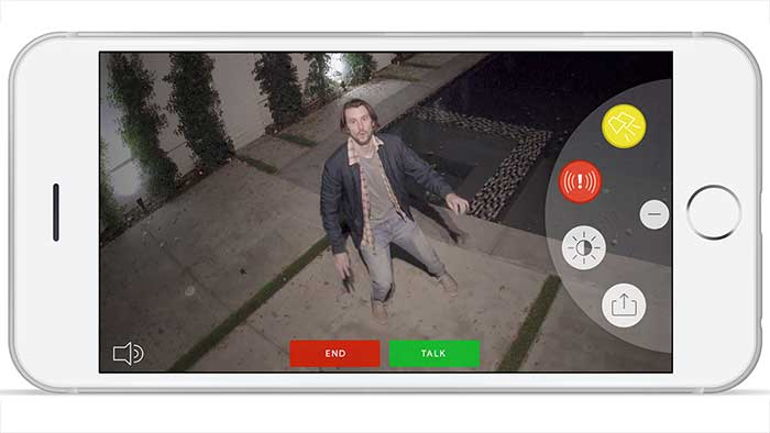 Iphone app showing an outdoor surveillance camera image