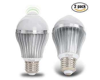 Two Ithird motion sensing light bulbs