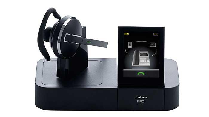 Jabra pro wireless headset on its stand