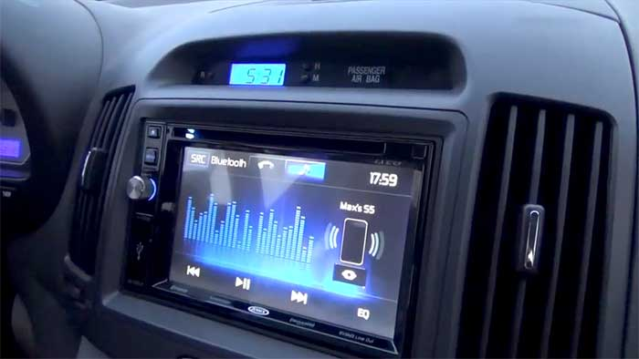Jensen car stereo unit on a hyundai dashboard