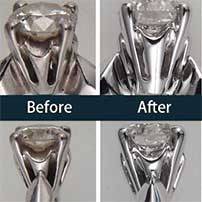 Two diamond rings before and after cleaning