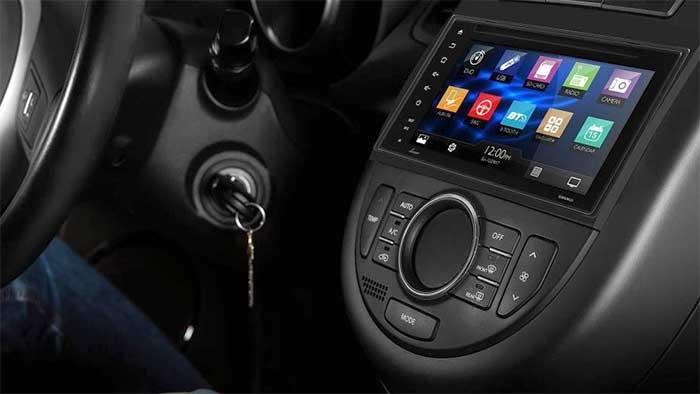 Lanzar bluetooth audio system on a car dashboard