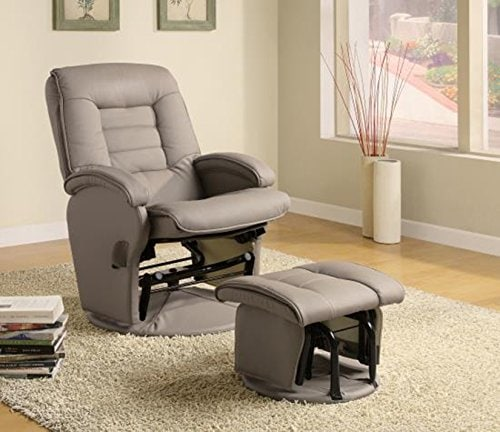 leather like vinyl glider recliner image