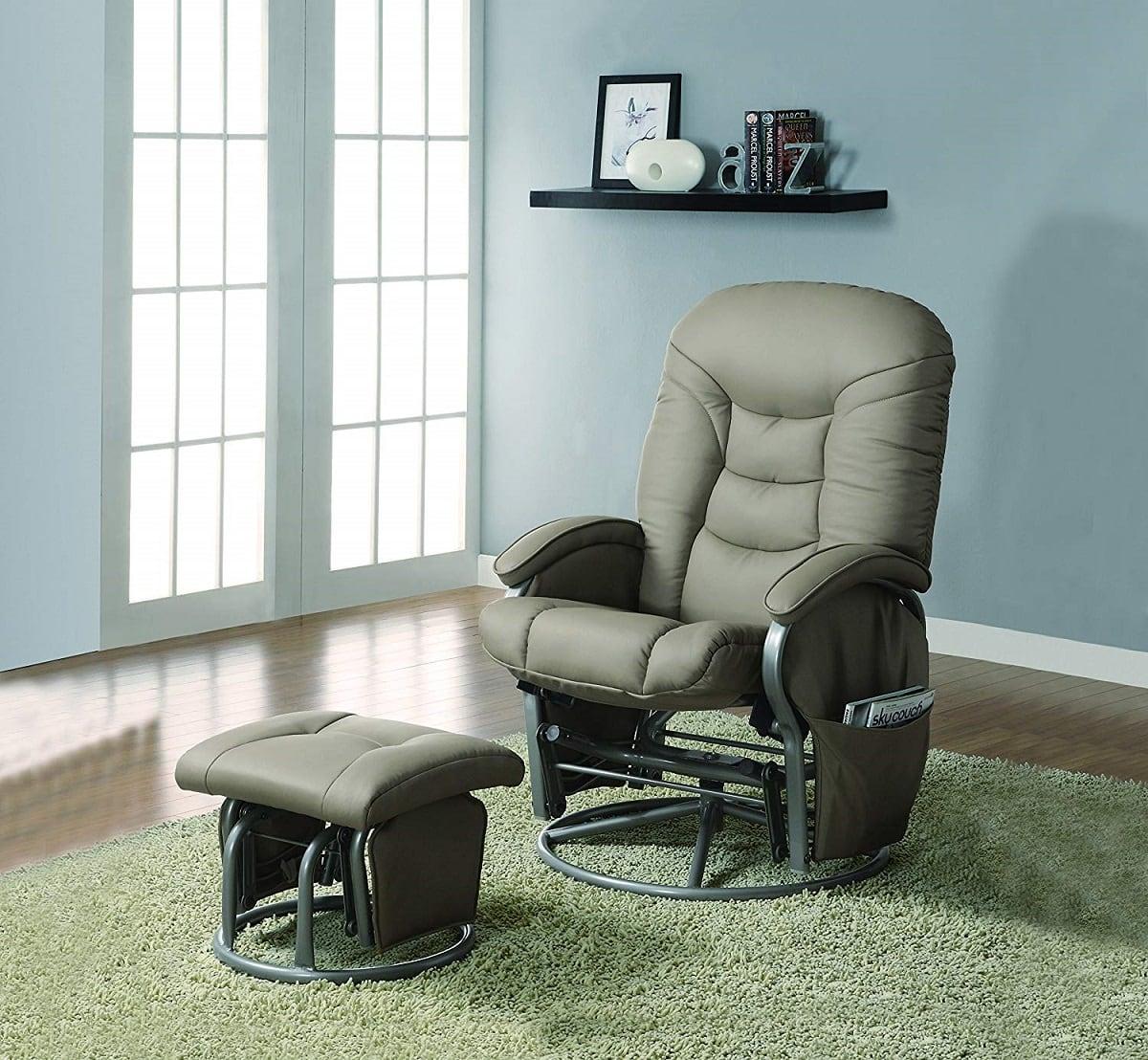 leatherette glider recliner image