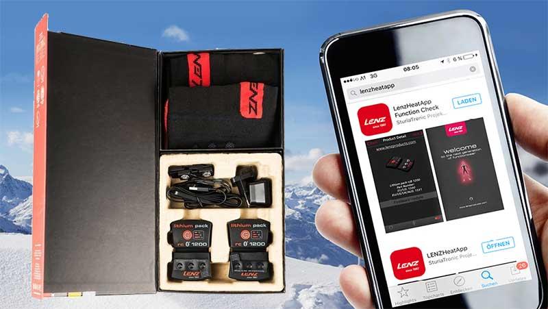 Lenz ski socks with heating control app