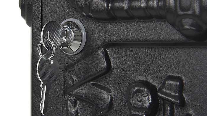 Closeup of a mailbox lock with a key inside
