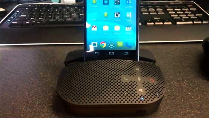 Logitech smartphone speaker on a desk