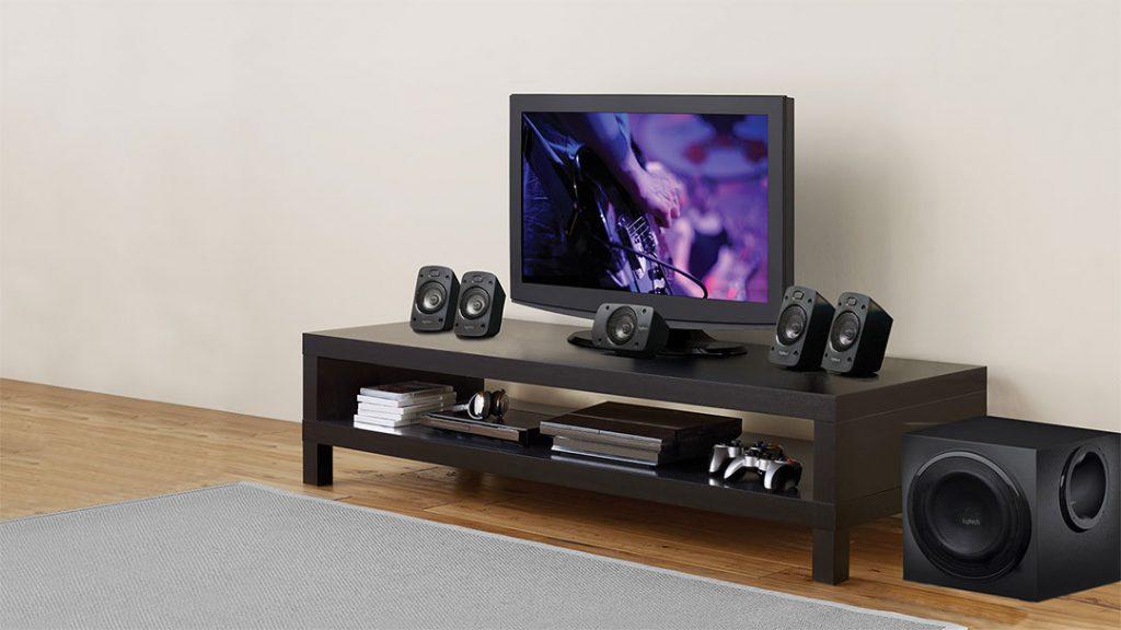 Logitech z906 Surround sound nextto a home tv setup