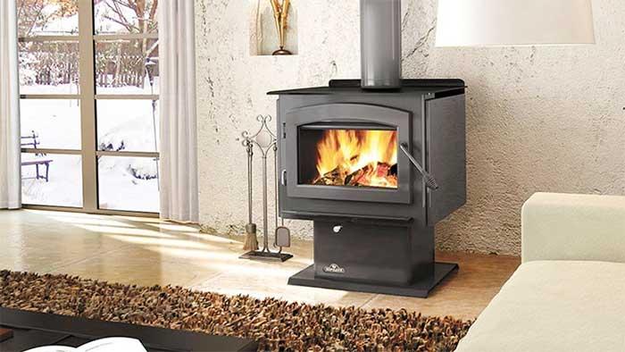 Small napoleon chimney with wood burning inside