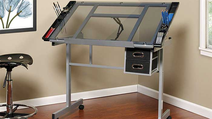 Onespace craft station glass draft table