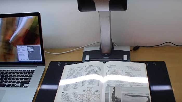 Overhead scanning of a japanese coloring book
