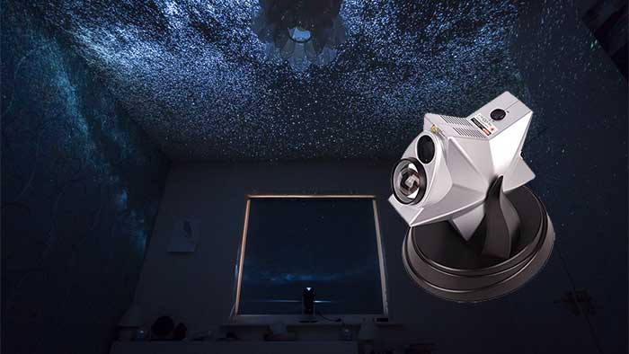 Parrot uncle projecting nebulas on a bedroom ceiling