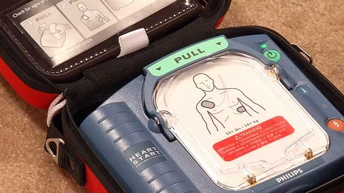 Philips defibrillator inside its case