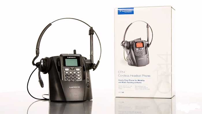 Plantronics CT14 headset telephone next to the retail packaging