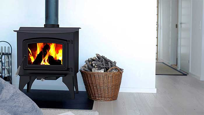 Pleasant Heart stove heating with wood
