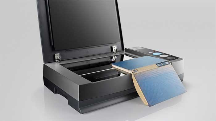A3 flatbed scanner from Plustek with a book on it