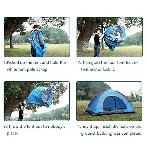 Step by step pop-up tent setup instructions