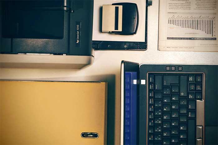 printer on a desk