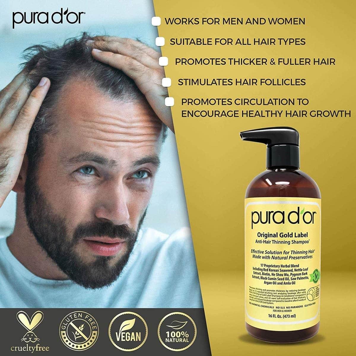 pura dor anti thinning shampoo conditioner image