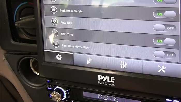 Pyle system screen opened on a toyota dashboard