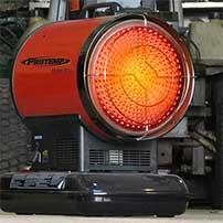 radiant kerosene heater turned on