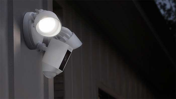 Ring floodlight camera outside a house