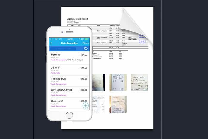 scanned receipt in an app